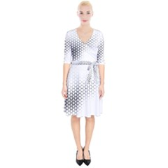 Geometric Abstraction Pattern Wrap Up Cocktail Dress