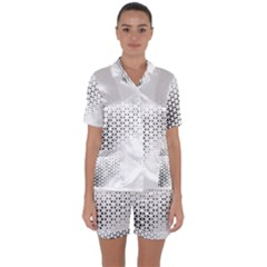 Geometric Abstraction Pattern Satin Short Sleeve Pyjamas Set by Mariart