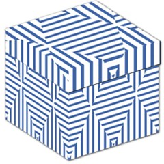 Geometric Shapes Stripes Blue Storage Stool 12   by Mariart