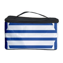 Geometric Shapes Stripes Blue Cosmetic Storage by Mariart