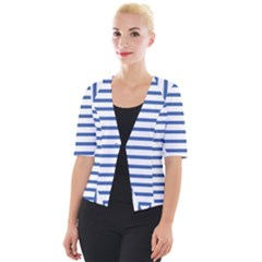 Geometric Shapes Stripes Blue Cropped Button Cardigan
