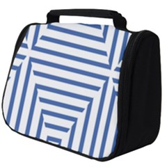 Geometric Shapes Stripes Blue Full Print Travel Pouch (big)