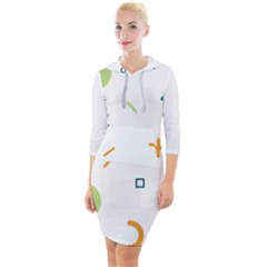 Geometry Triangle Line Quarter Sleeve Hood Bodycon Dress by Mariart