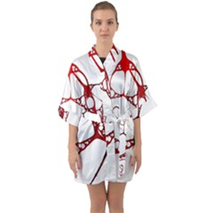 Fractals Cells Autopsy Pattern Quarter Sleeve Kimono Robe by Mariart