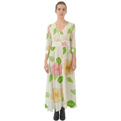 Flowers Leaf Stripe Pattern Button Up Boho Maxi Dress by Mariart