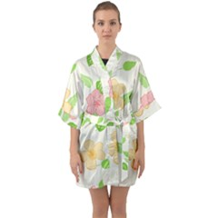 Flowers Leaf Stripe Pattern Quarter Sleeve Kimono Robe by Mariart