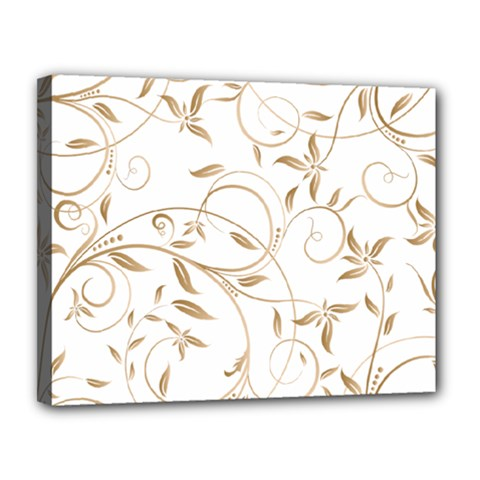 Floating Gold Elegant Pattern Canvas 14  X 11  (stretched) by Jojostore