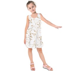 Floating Gold Elegant Pattern Kids  Sleeveless Dress by Jojostore