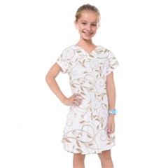 Floating Gold Elegant Pattern Kids  Drop Waist Dress by Jojostore