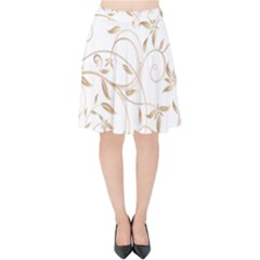 Floating Gold Elegant Pattern Velvet High Waist Skirt by Jojostore