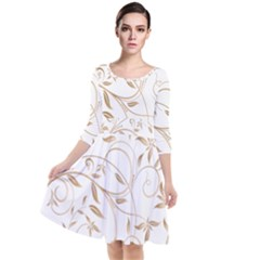 Floating Gold Elegant Pattern Quarter Sleeve Waist Band Dress