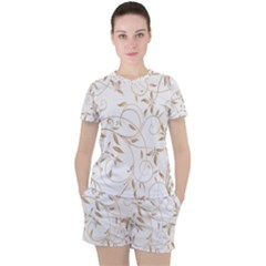 Floating Gold Elegant Pattern Women s Tee And Shorts Set by Jojostore