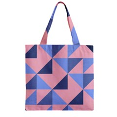 Fabric Geometric Cotton Texture Zipper Grocery Tote Bag