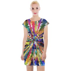 Colorful Prismatic Chromatic Cap Sleeve Bodycon Dress by Jojostore