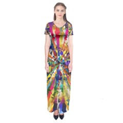 Colorful Prismatic Chromatic Short Sleeve Maxi Dress by Jojostore