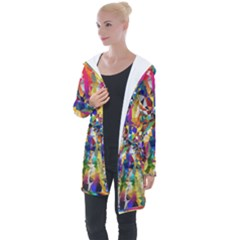 Colorful Prismatic Chromatic Longline Hooded Cardigan by Jojostore