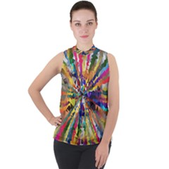 Colorful Prismatic Chromatic Mock Neck Chiffon Sleeveless Top