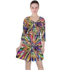 Colorful Prismatic Chromatic Ruffle Dress by Jojostore