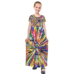Colorful Prismatic Chromatic Kids  Short Sleeve Maxi Dress by Jojostore