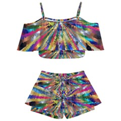 Colorful Prismatic Chromatic Kids  Off Shoulder Skirt Bikini