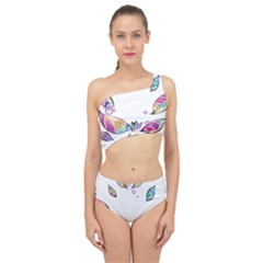 Euclidean Vector Leaf Spliced Up Two Piece Swimsuit