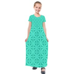 Cyan Magenta Wallpaper Seamless Pattern Kids  Short Sleeve Maxi Dress by Jojostore