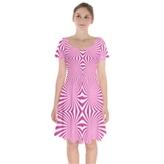 Hypnotic Psychedelic Abstract Ray Short Sleeve Bardot Dress by Alisyart
