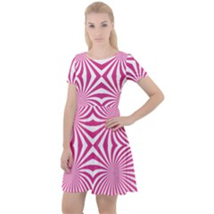Hypnotic Psychedelic Abstract Ray Cap Sleeve Velour Dress