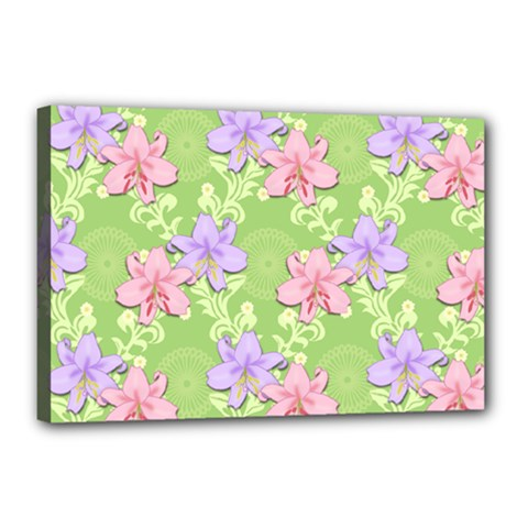 Lily Flowers Green Plant Canvas 18  X 12  (stretched)