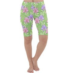 Lily Flowers Green Plant Cropped Leggings  by Alisyart