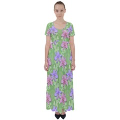 Lily Flowers Green Plant High Waist Short Sleeve Maxi Dress