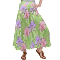 Lily Flowers Green Plant Satin Palazzo Pants by Alisyart