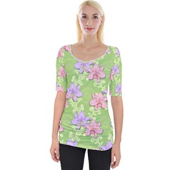 Lily Flowers Green Plant Wide Neckline Tee