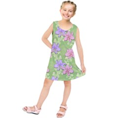 Lily Flowers Green Plant Kids  Tunic Dress