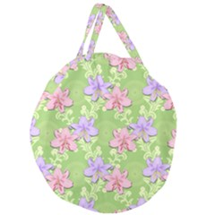 Lily Flowers Green Plant Giant Round Zipper Tote by Alisyart