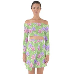Lily Flowers Green Plant Off Shoulder Top With Skirt Set