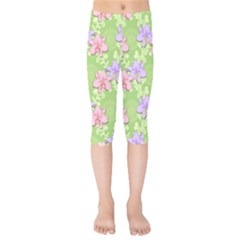 Lily Flowers Green Plant Kids  Capri Leggings