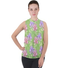 Lily Flowers Green Plant Mock Neck Chiffon Sleeveless Top by Alisyart