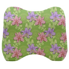 Lily Flowers Green Plant Velour Head Support Cushion