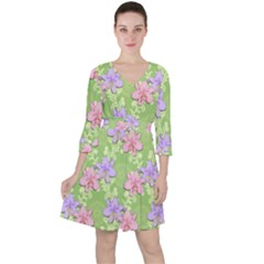 Lily Flowers Green Plant Ruffle Dress
