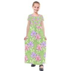 Lily Flowers Green Plant Kids  Short Sleeve Maxi Dress by Alisyart