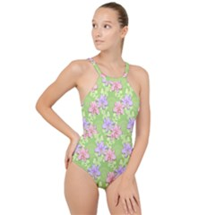 Lily Flowers Green Plant High Neck One Piece Swimsuit