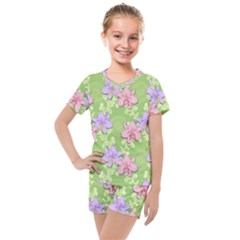 Lily Flowers Green Plant Kids  Mesh Tee And Shorts Set