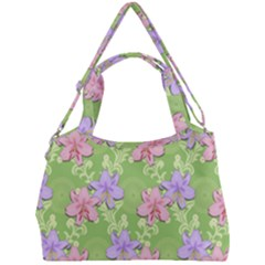 Lily Flowers Green Plant Double Compartment Shoulder Bag