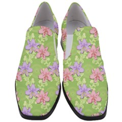 Lily Flowers Green Plant Slip On Heel Loafers