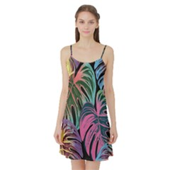 Leaves Tropical Jungle Pattern Satin Night Slip