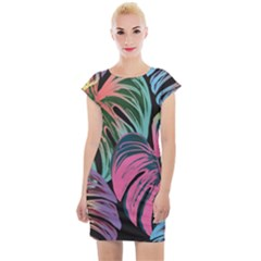 Leaves Tropical Jungle Pattern Cap Sleeve Bodycon Dress