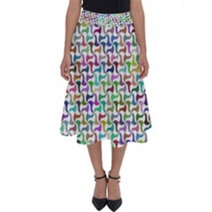 Geometric Floral Shape Geometrical Perfect Length Midi Skirt