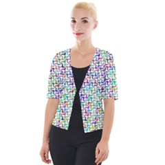 Geometric Floral Shape Geometrical Cropped Button Cardigan by AnjaniArt