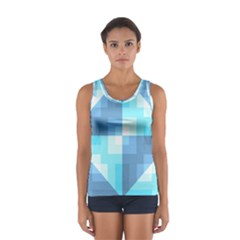 Fabric Cotton Aqua Blue Patchwork Sport Tank Top  by AnjaniArt